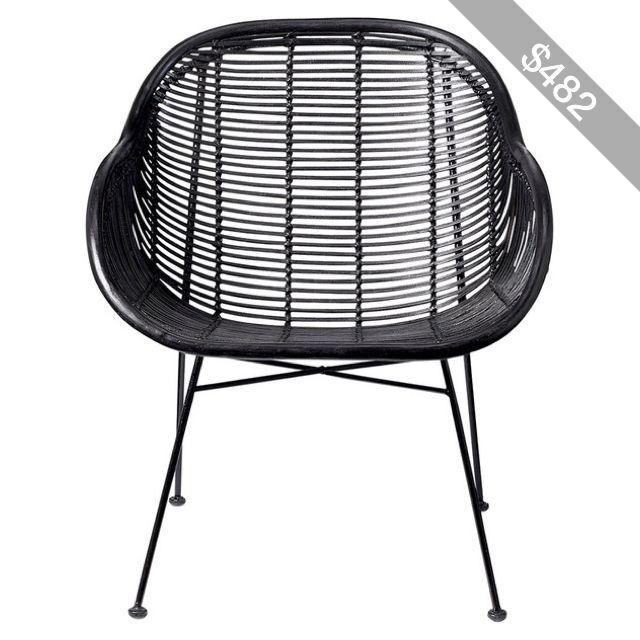 Gentil Bloomingville Lounge Braided Rattan Chair   Black