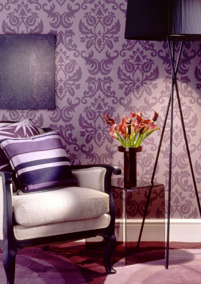 interessantes barock wohnzimmer - lila tapete Haus, Wohnung