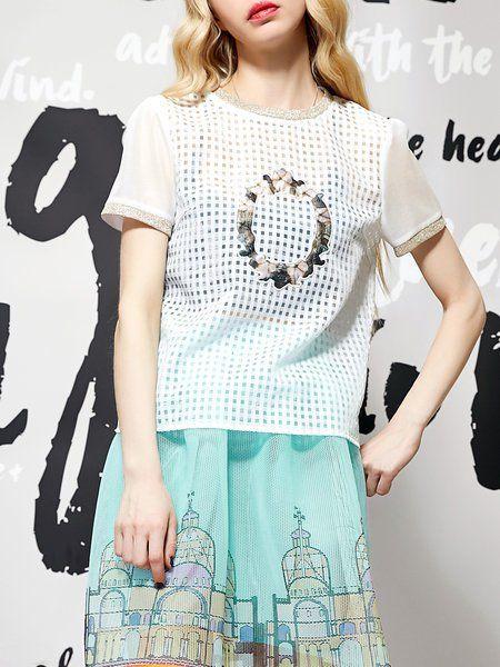 #AdoreWe #JustFashionNow Casual Tops - Designer ELF SACK White Printed H-line Polyester Casual Top - AdoreWe.com