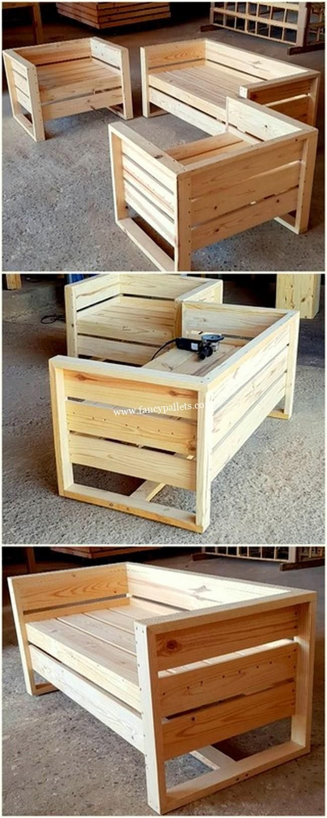 DIY Pallet Wood Furniture Ideas Designed With Reused Material - Fancy Pallets -  - #woodworking #woodpalletfurniture