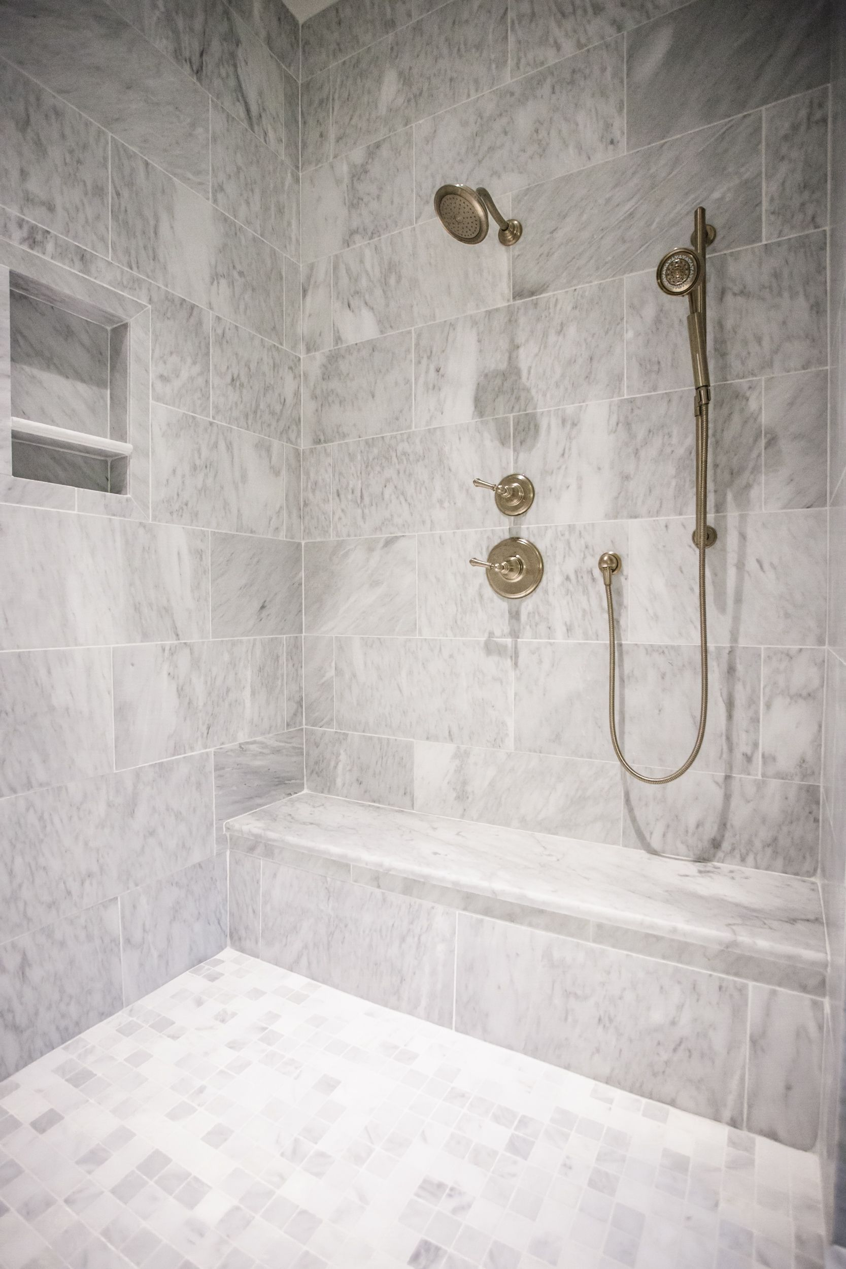 Chandelier Devleopment - White marble and antique brass plumbing ...