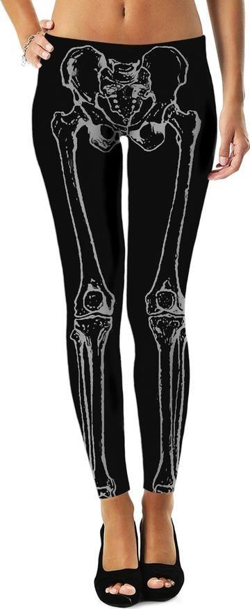 Dark Black And Gray Skeleton Legs Bones Pattern Leggings