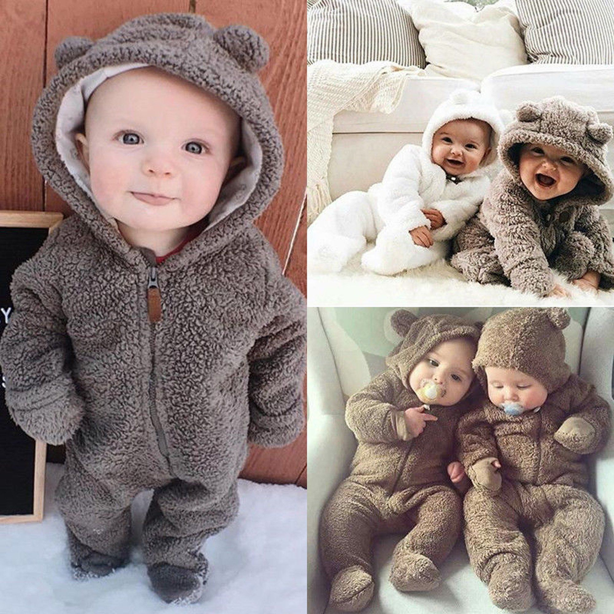 Ma&Baby - Newborn Toddler Baby Girl Boy Hooded Romper Jumpsuit