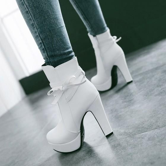 New Women White Round Toe Chunky Bow Casual Ankle Boots 3
