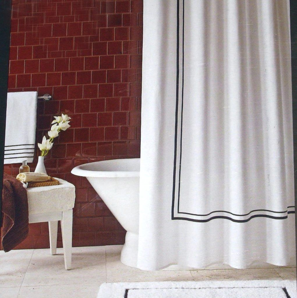 White Shower Curtain With Black Trim