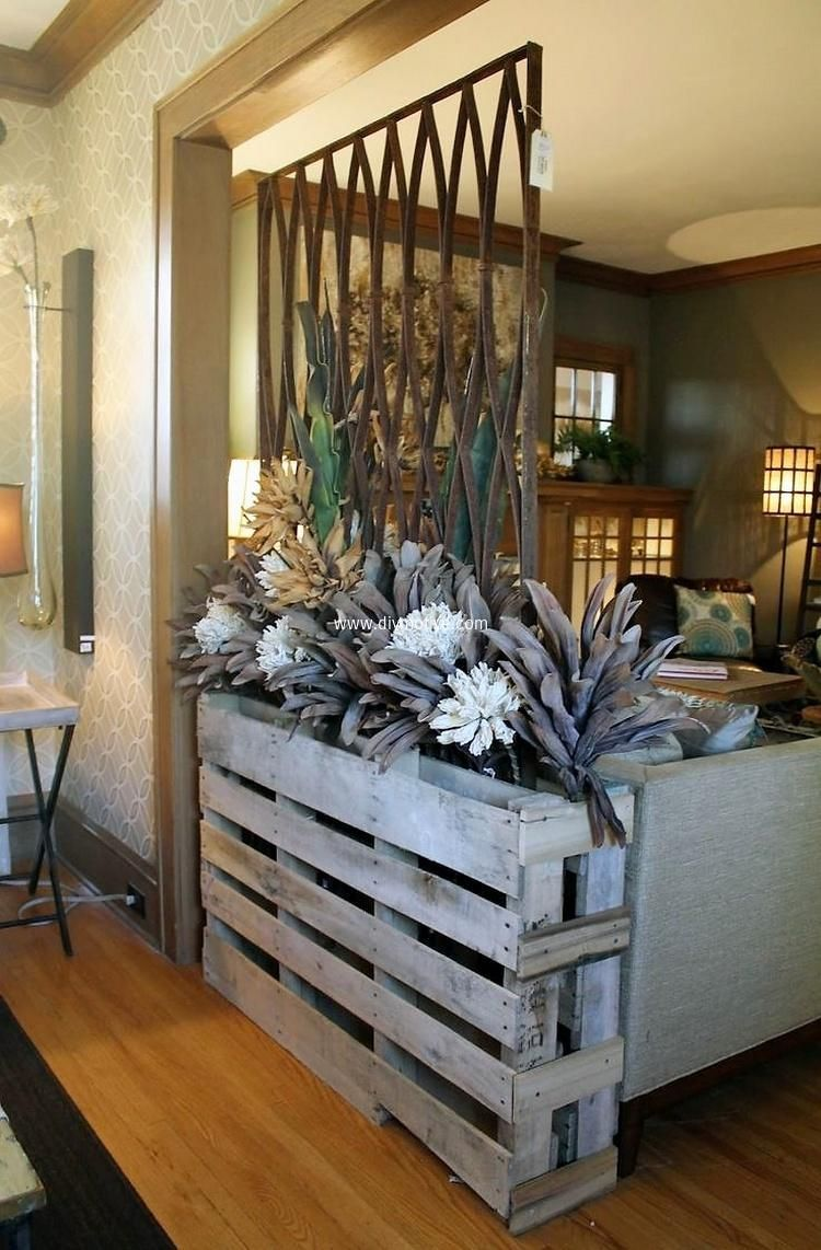 Room divider with pallets wood basement in pinterest