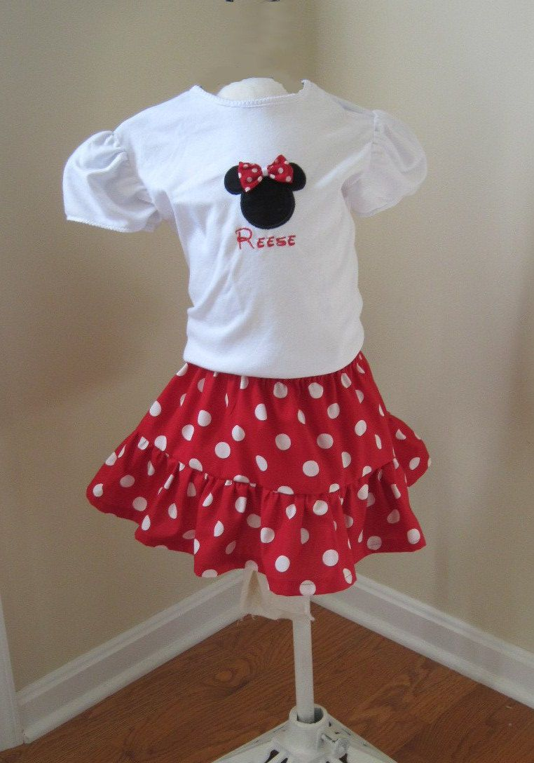 Custom Personalized Disney Outfit-Embroidered shirt with fabric bow,  ruffled skirt. $35.00,