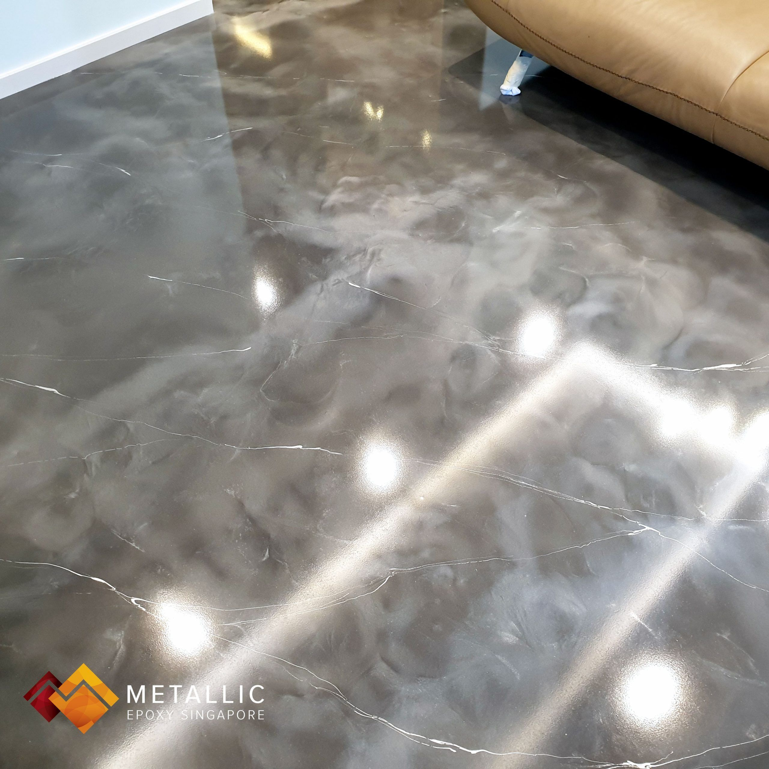 Metallic Epoxy Singapore Silver Base with Chrome Silver Marble Veins Living Room...#base #chrome #epoxy #living #marble #metallic #room #silver #singapore #veins