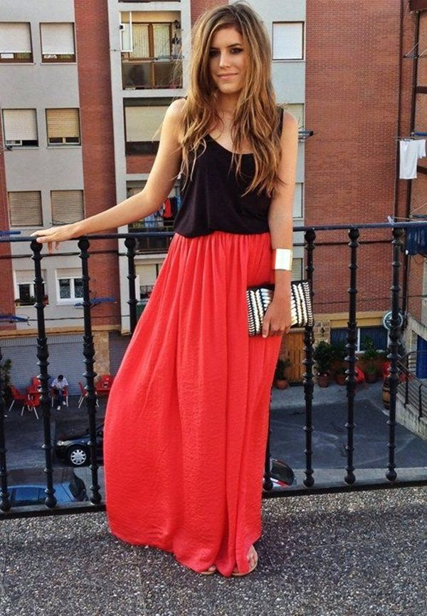 e955bb7a29 Coral Maxi Skirts, Red Maxi, Maxis, Maxi Skirt Outfits, Maxi Dresses,