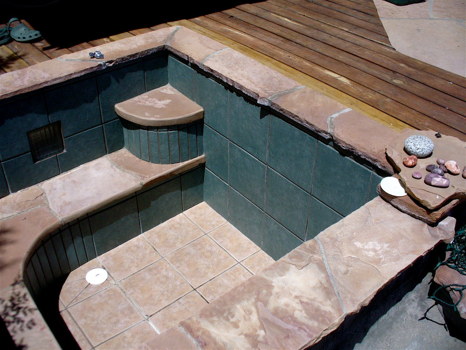 A Concrete And Tile Pool With Images Pool Tile Diy Stone Tile
