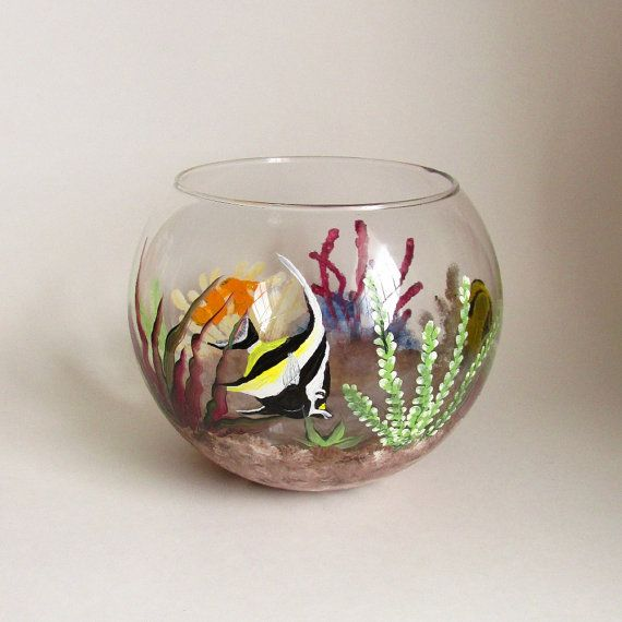Colorful fish bowl hand painted fish tank decorative for Painted glass fish