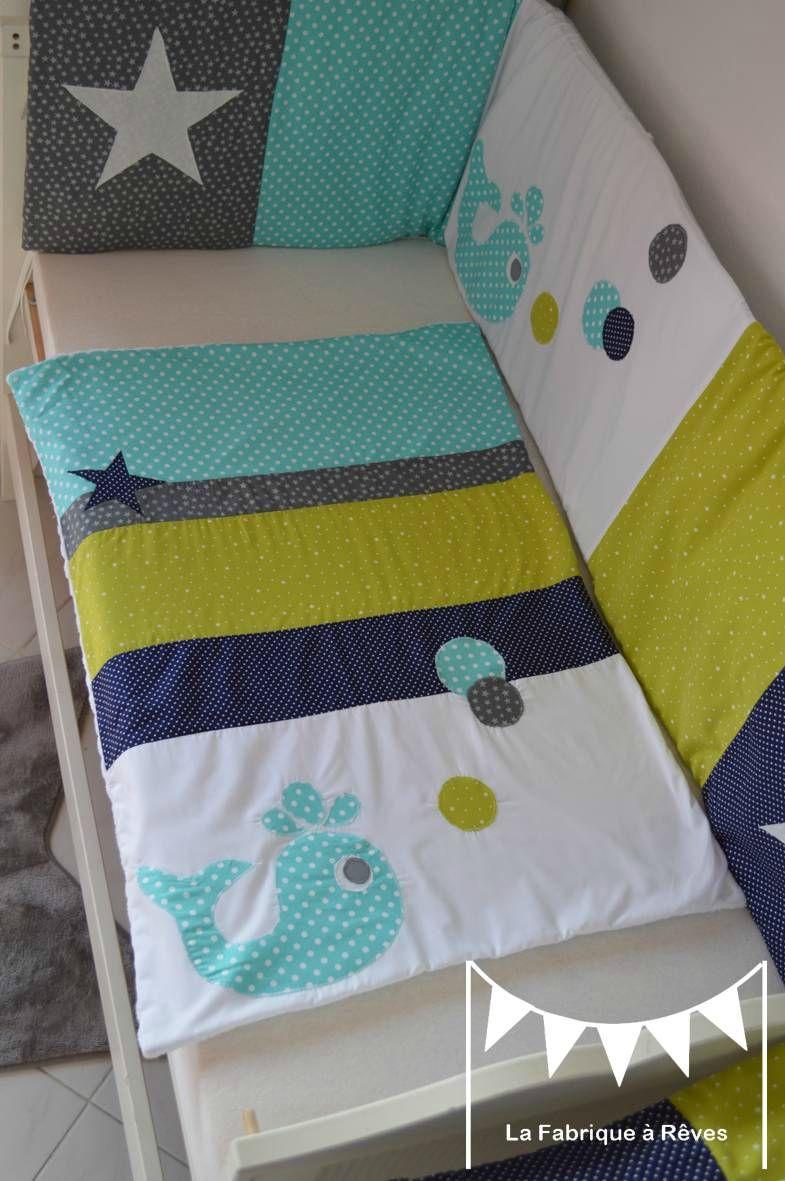 couverture bébé baleine étoiles vert anis bleu turquoise bleu marine ...