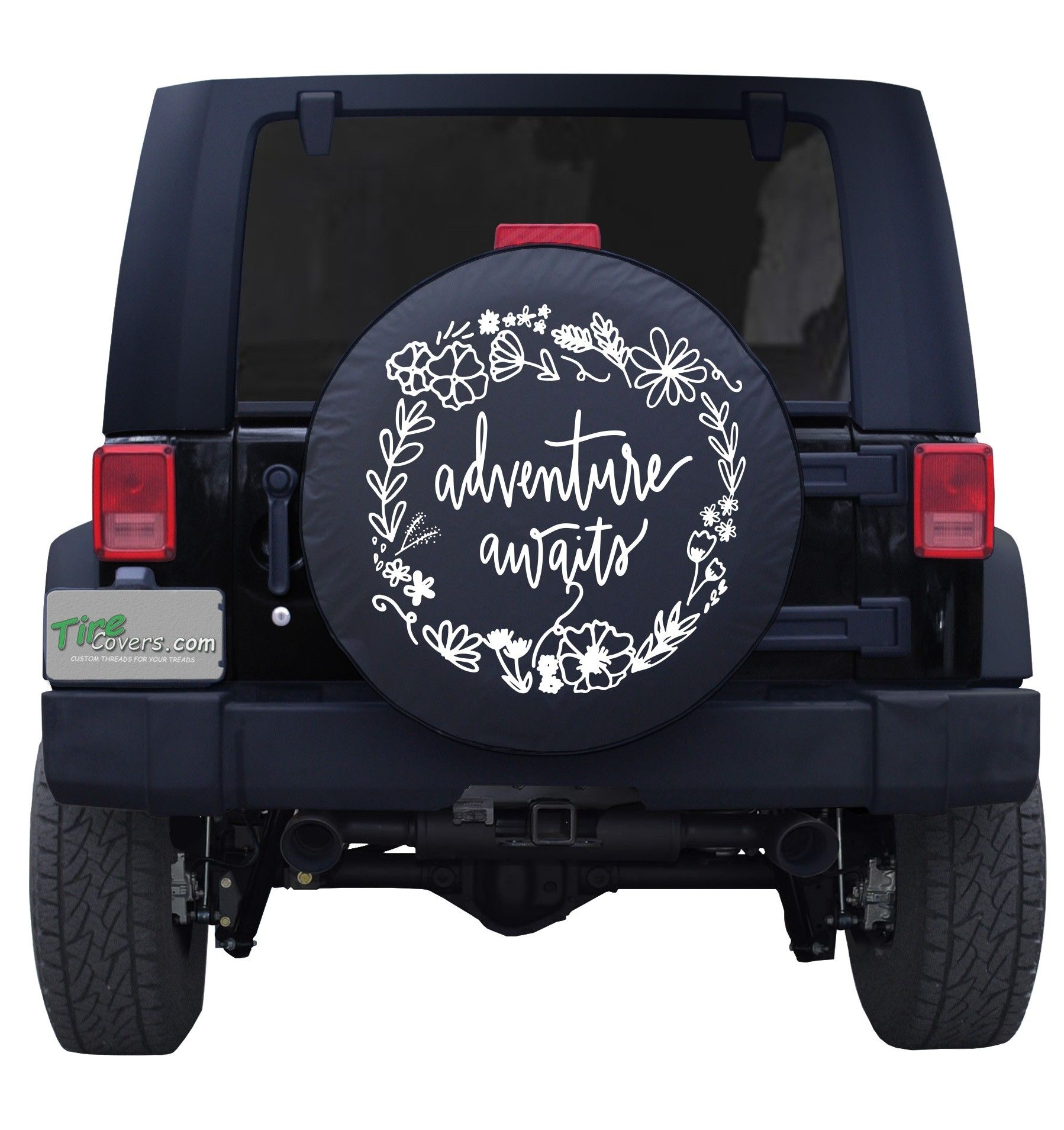 Adventure Awaits Floral Custom Tire Cover Custom Tire Covers