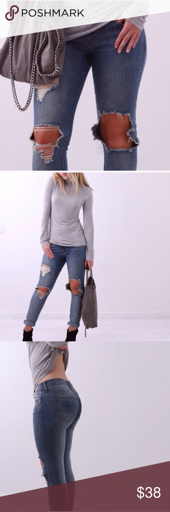 """REPOSH: Brooklyn Ripped Denim Originally purchased from 11thstreet! Size 26. NWOT. They are just a bit too tight for me. 31"""" inseam. Made of cotton and spandex. PRICE FIRM✨ Jeans"""