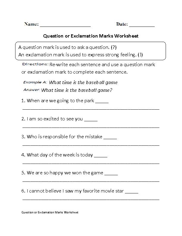Printable Worksheets punctuation rules worksheets : Question or Exclamation Marks Worksheet | Grammer | Pinterest ...