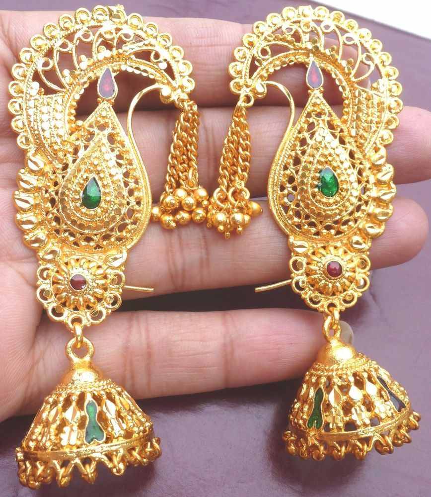Gold Plated Meenakari Indian Full Ear Earrings Jhumka Wedding Jewelry  Bridal #cuff