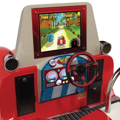 The Arcade Mini Roadster Simulator - A single-player arcade game that pitches and rolls as drivers zoom the roadster around a simulated racecourse