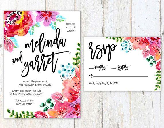 How Big Are Wedding Invitations: Floral Wedding Invitation, Watercolor Flowers Wedding