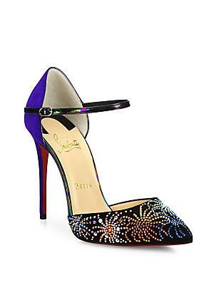 34642c8489d Christian Louboutin Rivierina Firework-Studded Suede Ankle-Strap Pumps