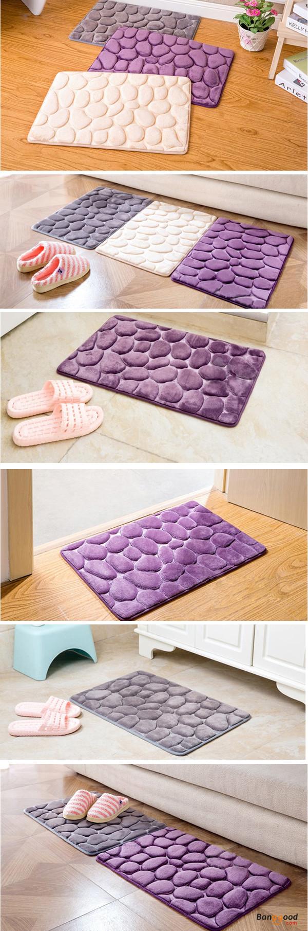 Honana BX D Pebbles Bath Rug Natural Absorbent Rubber Bath - Lilac bath mat for bathroom decorating ideas
