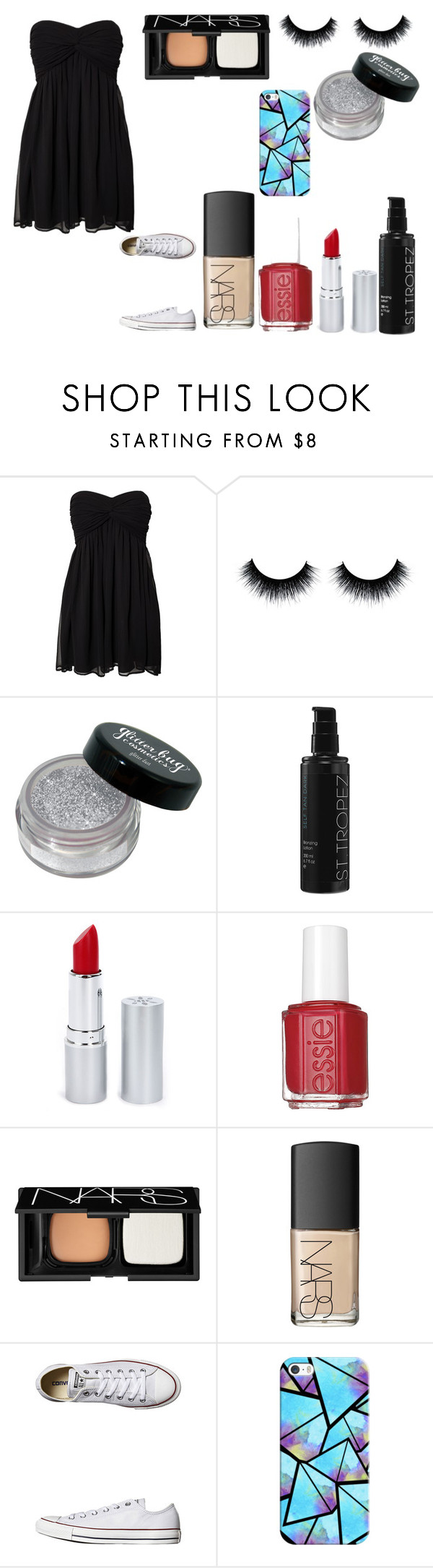 """Untitled #1286"" by teenage-rxjxct ❤ liked on Polyvore featuring NLY Trend, St. Tropez, HoneyBee Gardens, Essie, NARS Cosmetics, Converse and Casetify"