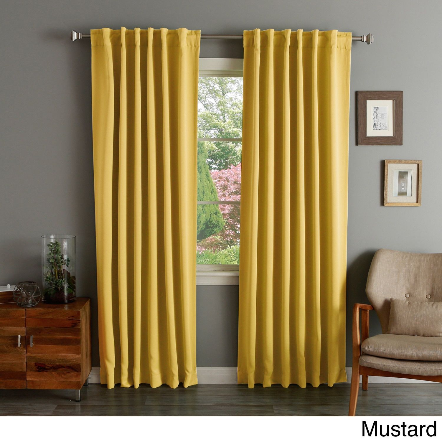 Aurora Home Solid Insulated Thermal Blackout Curtain Panel Pair (Indigo 120 Inch),  Blue, Size 52 X 120