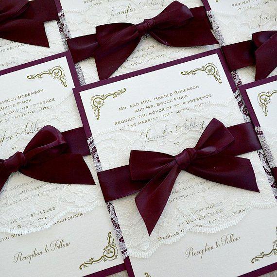 Jennifer Burgundy And Ivory Lace Wedding Invitation Ivory