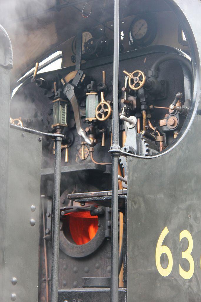 Steam engine cab.