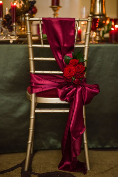 Wedding Chair Covers Burton On Trent Stakmore Folding Table And Chairs Decor Bordeaux Satin Adorned With Roses By Debonair Venue Styling