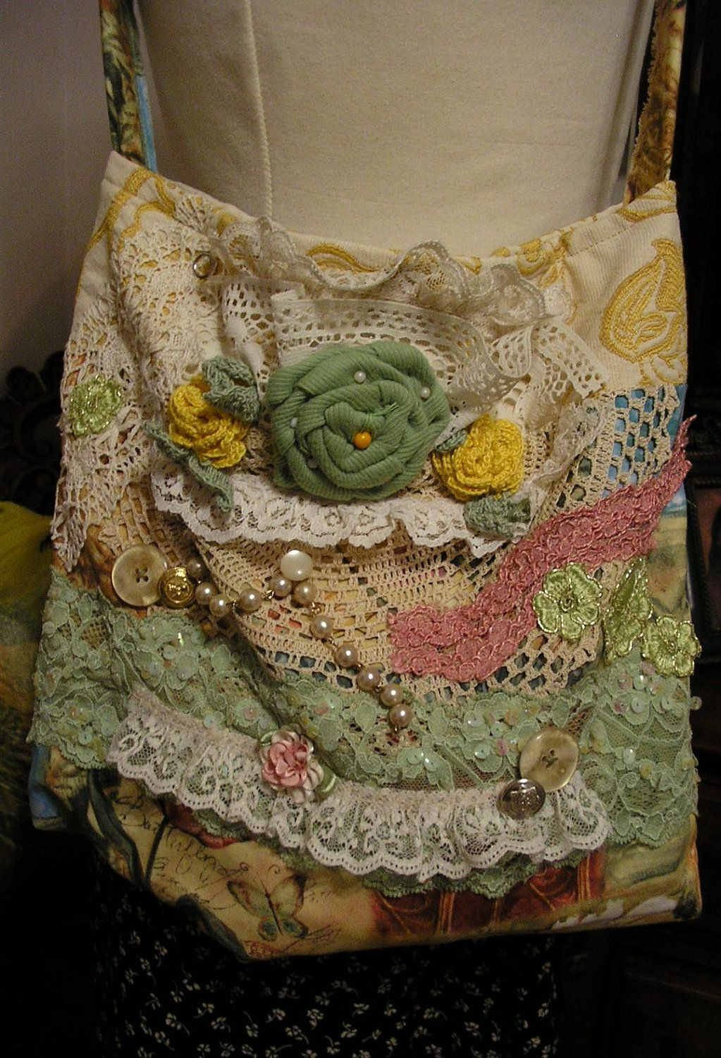 Floral Fabric Bag slouchy crocheted roses by TatteredDelicates