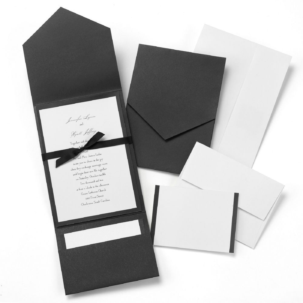 New 25 x Wedding Invitation DIY Kit Pockets RSVP Cards Envelopes ...