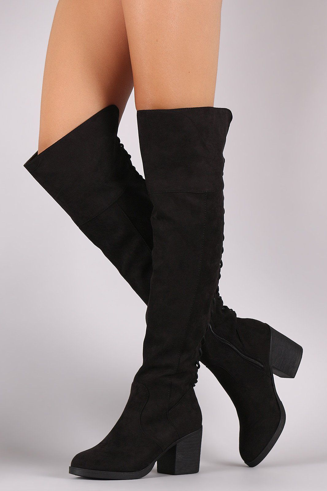 907bf6e661a2 Sensualshoesandclothingboutique - Bamboo Suede Back Lace Up OTK Boots