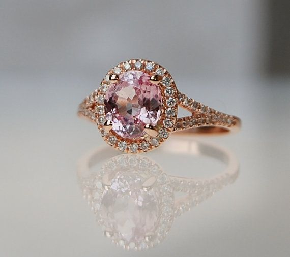 2ct Oval champagne peach sapphire diamond ring 14k rose gold engagement ring