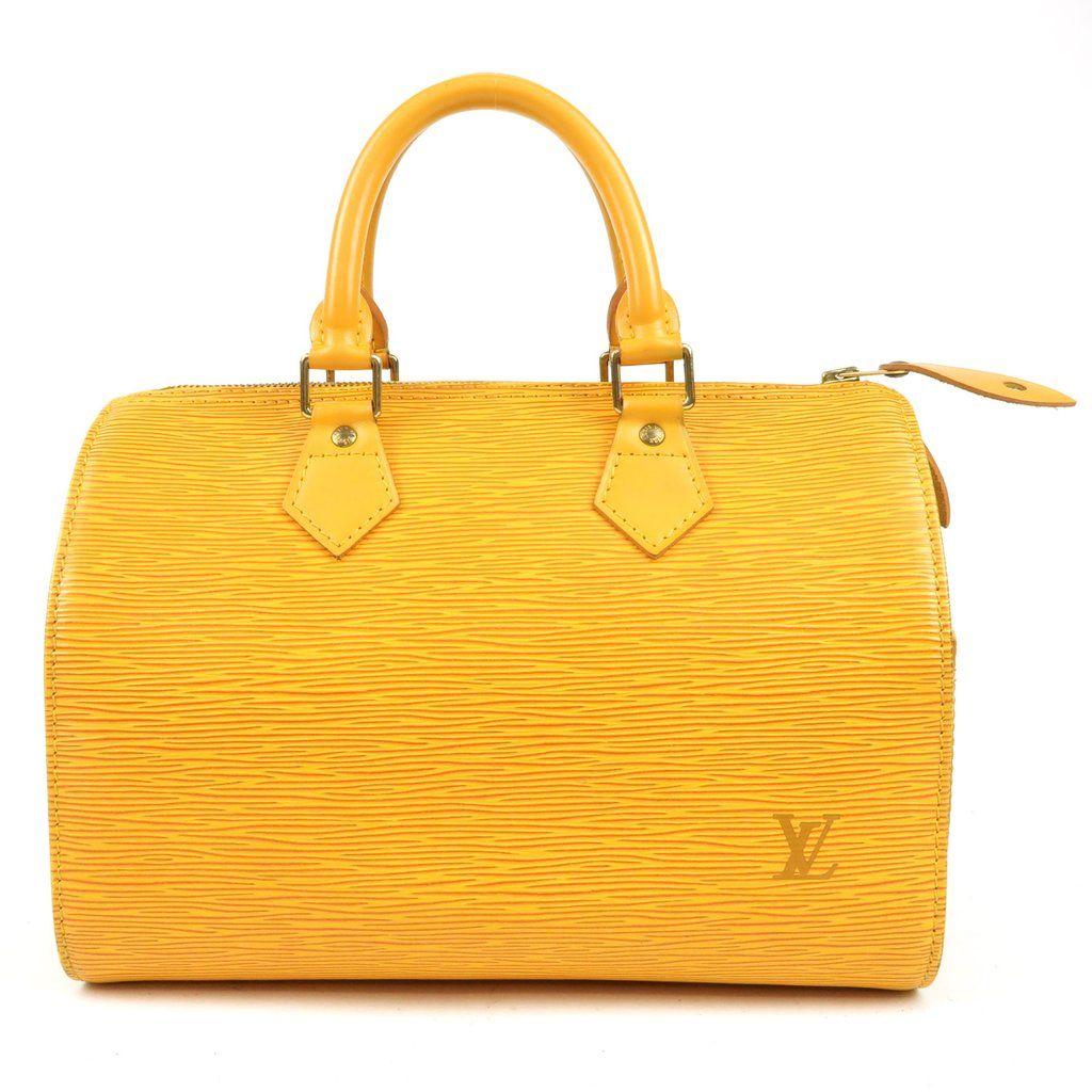 0a82f6403598 Authentic LOUIS VUITTON Epi Speedy 25 Hand Boston Bag Yellow M43019 Used F S