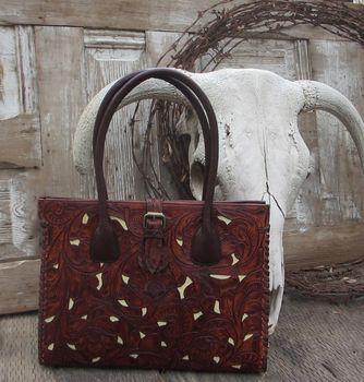 Juan Antonio Saddle Brown Tooled Leather Handbag Tote with Ivory Inlay