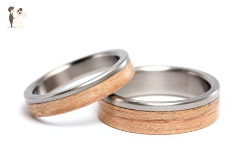 Set of two titanium and bentwood wedding bands. Unique and natural wooden rings. Water resistant and hypoallergenic. (00519_4N6N) - Wedding and engagement rings (*Amazon Partner-Link)
