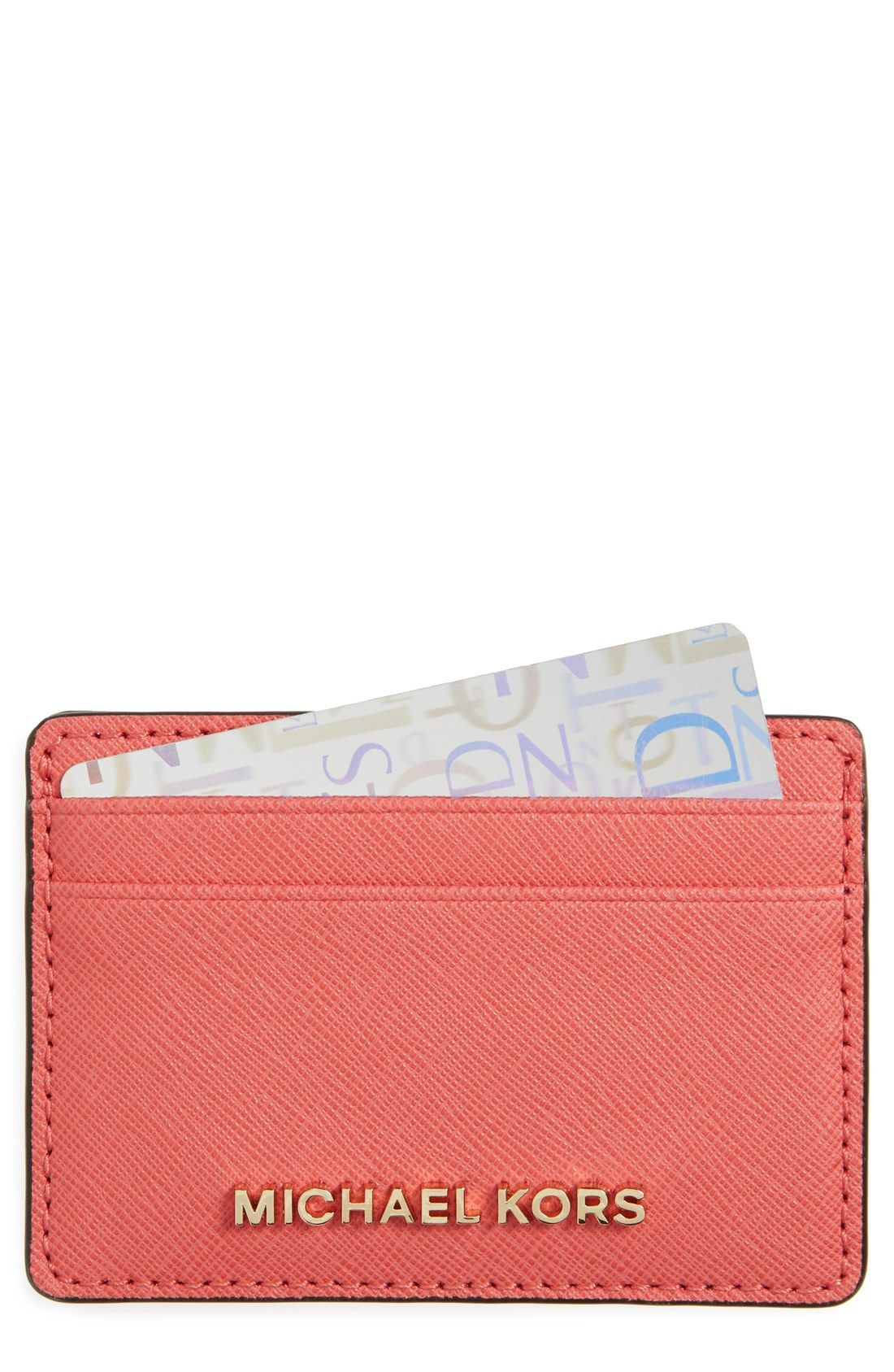 8e60660fa7 Handbags   Wallets for Women. In love with this Michael Kors card holder in  pink grapefruit and gold details.