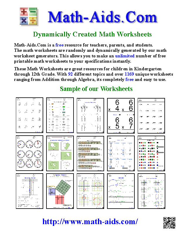 Math Aids Com Unlimited Dynamically Created Math Worksheets Math