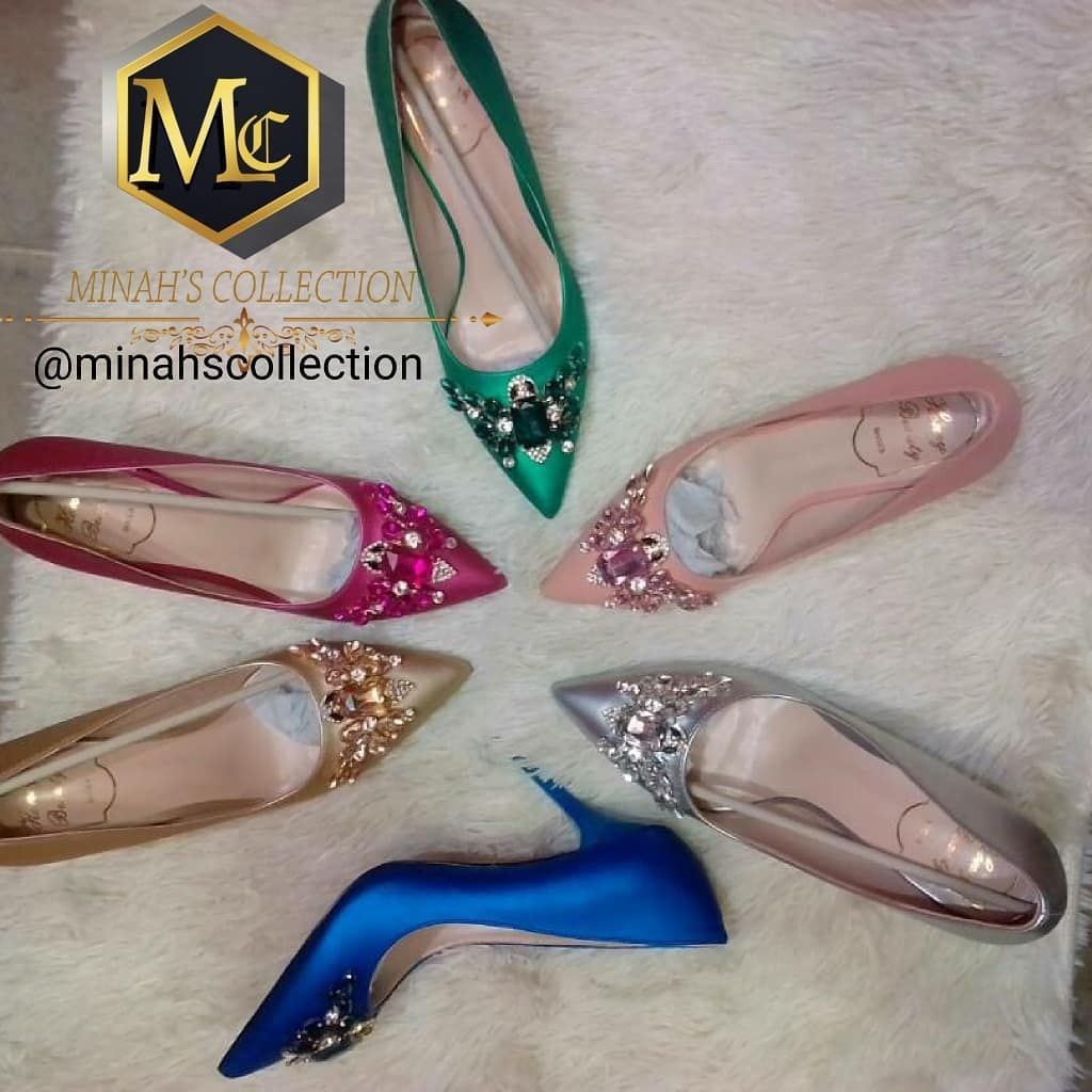 89a6878c27 Embellished Satin Pointy Open Toe Sandals With Stiletto Heel. . . Dm for  price.