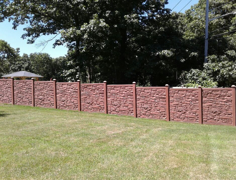 72 Quot Desert Redwood Vinyl Stone Privacy Fence Installed In