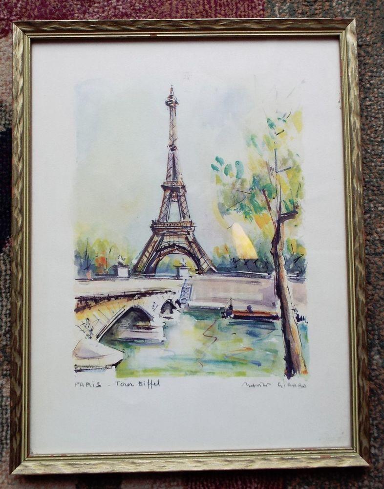 Vintage framed watercolor print eiffel tower signed girard souvenir ...