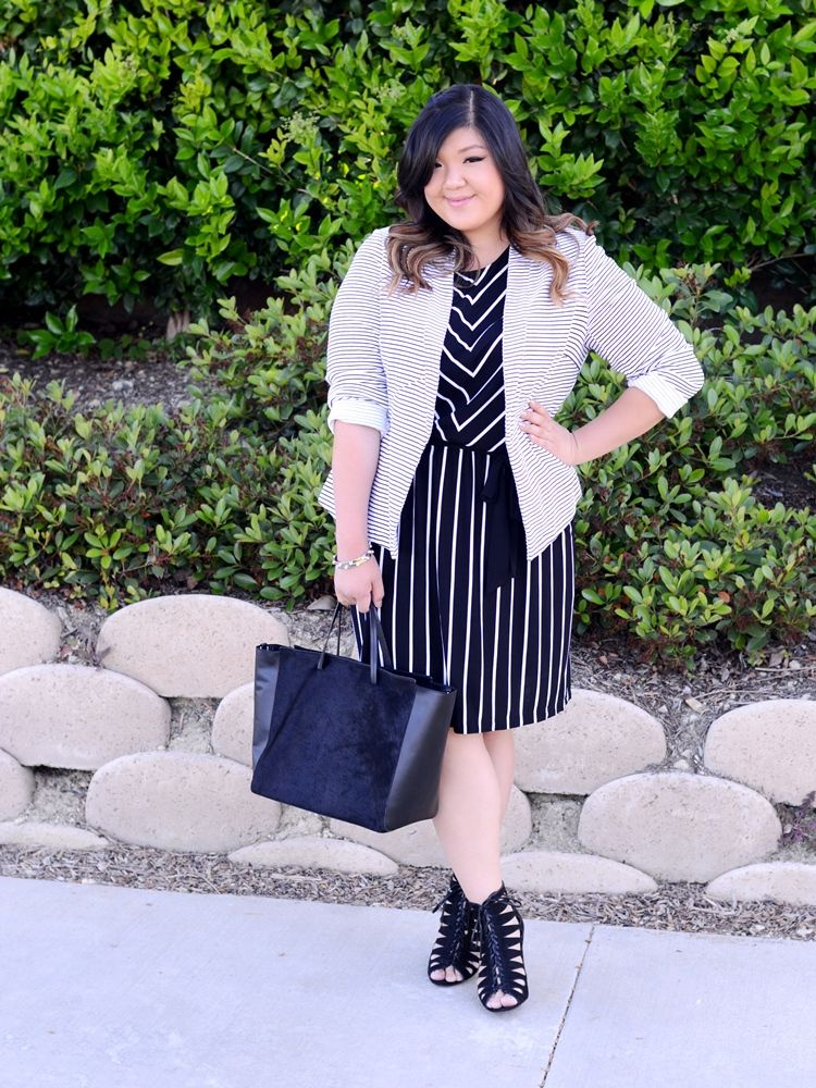 b3113c85ce050 Curvy Girl Chic Plus Size Fashion Blog Target Ava and Viv Striped Outfit  Ideas Black and White Striped Dress and Blazer