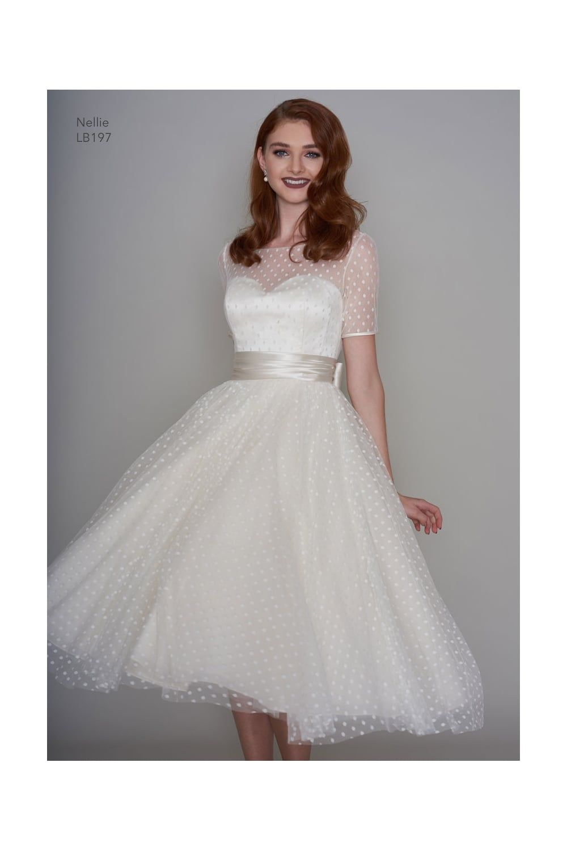 Lb nellie s tea length polka dot short vintage wedding dress