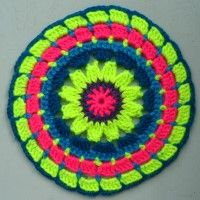 Crochet Mandala Wheel made by Kairi, Wolverhapmpton, UK for yarndale.co.uk