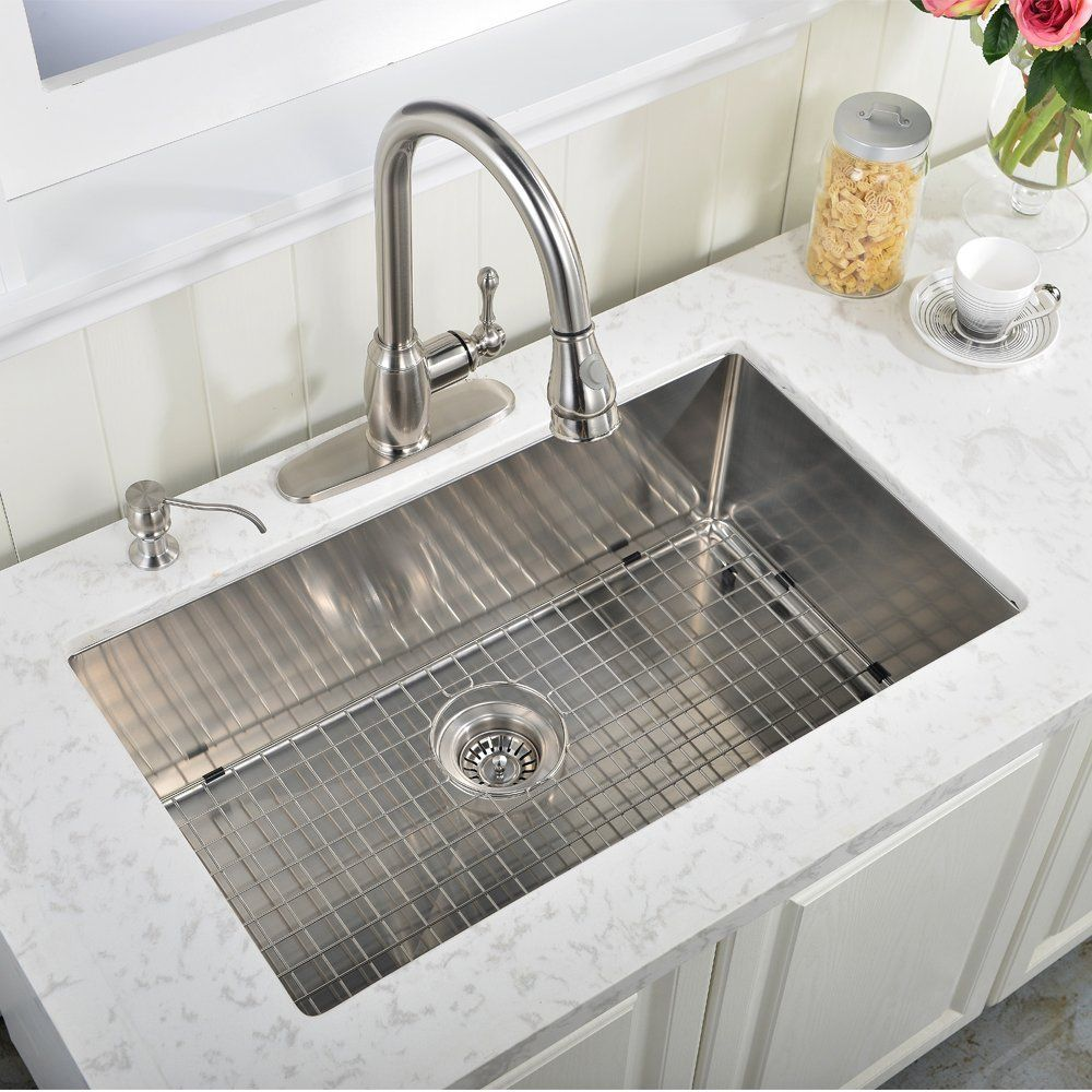 Ufaucet Commercial 32 Inch 16 Gauge 10 Inch Deep Undermount Single Bowl Stainless Steel Kitchen Sink Sink Kitchen Sink Install Stainless Steel Kitchen Sink