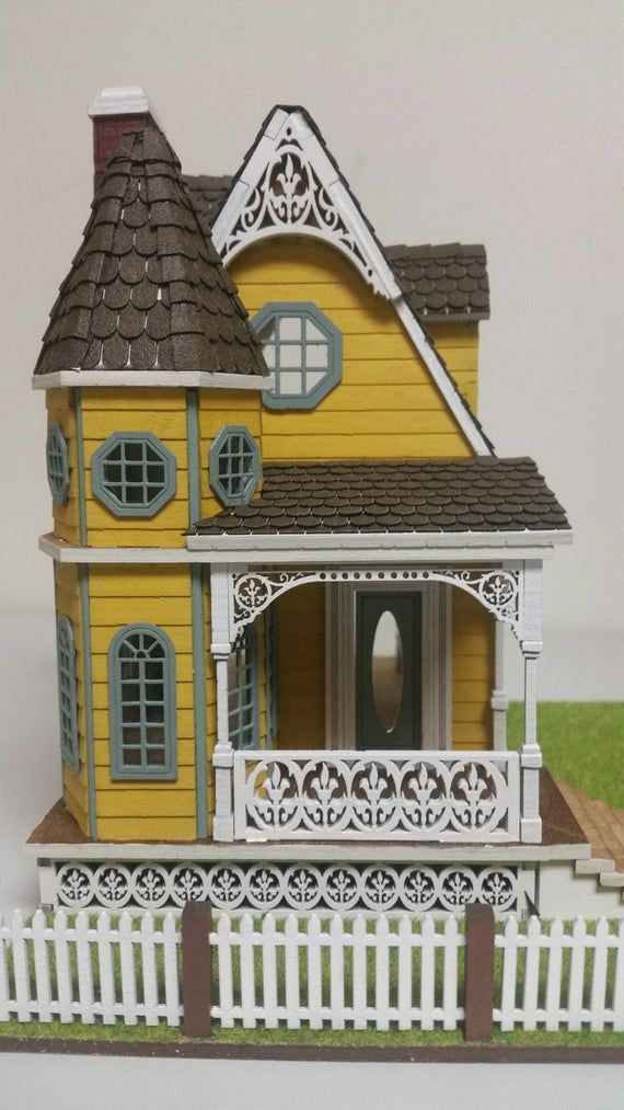 Jasmine II Gothic Victorian Wood Cottage Dollhouse 1:48 scale #victoriandollhouse Take a look at this Dainty and Detailed little Jewel! Our Jasmine II Gothic Victorian Dollhouse Cottage kit has many intricate features and measures with yard 7 1/2Wide x 8.5 deep x 9High. Ceiling height is 2 1/2 Kit comes with everything needed to assemble as you see in the pictures including: #victoriandollhouse
