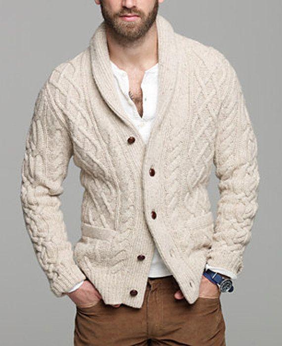 Hecho Para Los Hombres La Mano Cardigan De Punto Con Capucha Mens Fashion Cardigan Mens Winter Fashion Mens Street Style