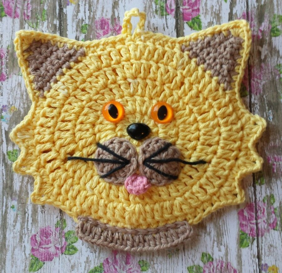 Crocheted Cat / Kitten Potholder Decoration with Bow Made With ...
