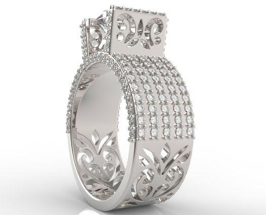Women S Wide Diamond Wedding Band Princess Cut Ring Unique Custom Engagement