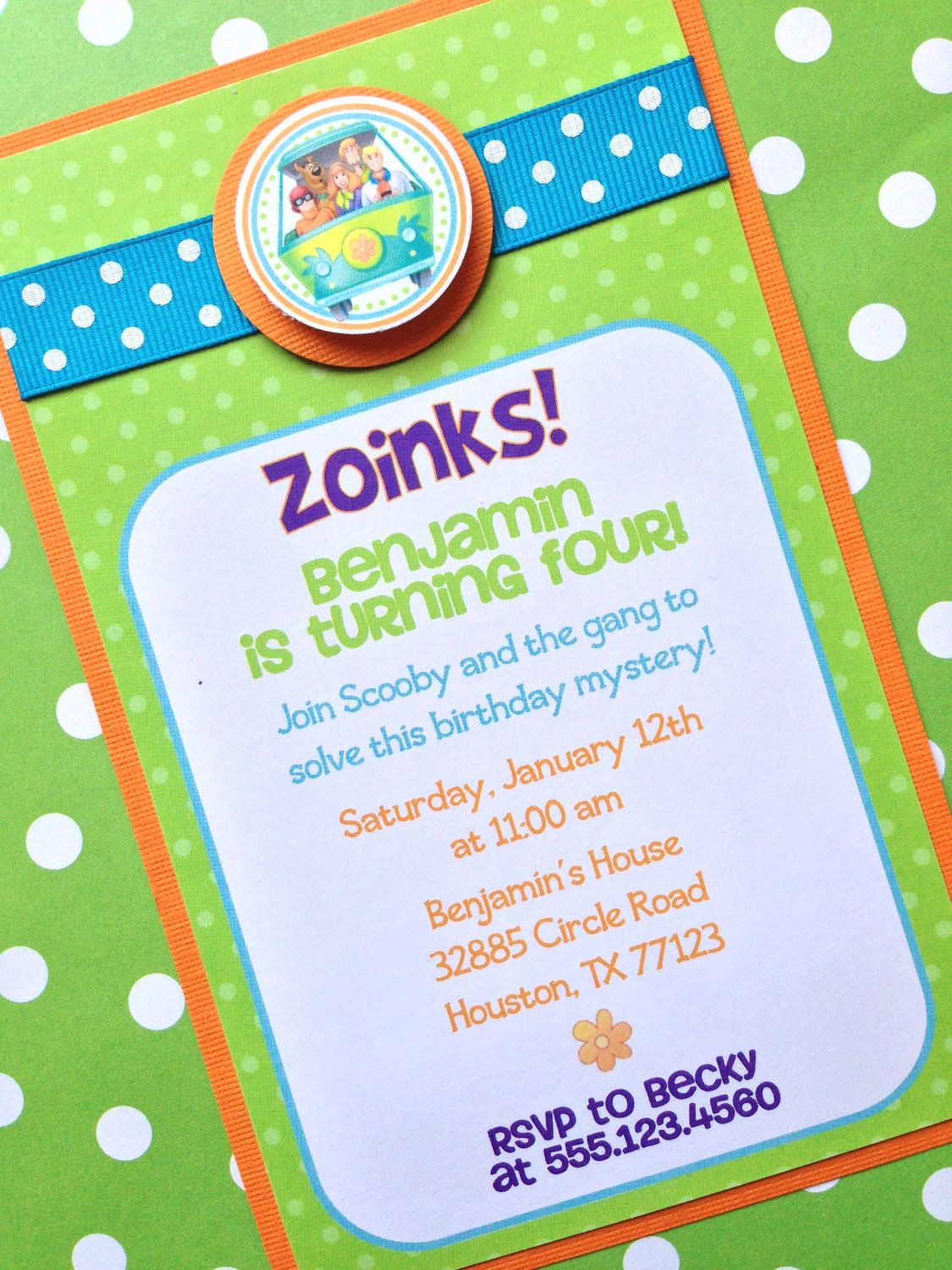 Scooby Doo Personalized Invite, Custom Party Invitations - Set of 12 ...